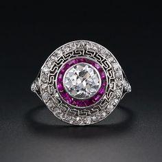 .90 Carat Diamond and Ruby Art Deco Ring