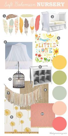 Home Decor Ideas Cozy Mood Board: Soft, Eclectic Boho Nursery. Natural elements like feathers and burlap with soft, pastel colours like peach, coral, yellow and g. Eclectic Boho Nursery, My Baby Girl, Baby Love, Girl Nursery, Nursery Decor, Project Nursery, Nursery Ideas, Ideas Prácticas, Decor Ideas