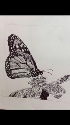 Butterfly on a flower #pointillism #art #butterfly