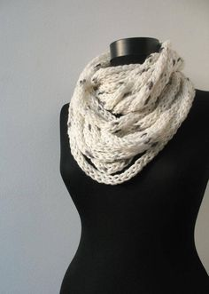 Scarf necklace, Loop scarf, Infinity scarf, Neck warmer, Hand knitted scarf, in white and gray This is my new design. Multiple cords of knit yarn in different colors and size. You can leave scarf long or wrap it around your neck, for warmth in the chilly mornings and evenings. Is it a scarf or a necklace??? A wonderful accessories for any outfit. Very soft and lightweight. Made in a pet-free and non-smoke home. Hand wash, hang to dry . Yarn: 35% alpaca, 10% polyamid, 55% acrylic Like th...