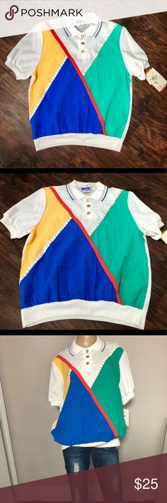 b0cc2edb69b04 NWT vintage cape cod colorful color block top Women s Vintage Cape cod  sportswear rainbow Colorful Color Block Top NWT SIZE 18 (XL) Super cute!