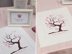 """Love the idea of this """"Guest Book Tree"""". It says """"Please 'leaf' your fingerprint and sign your name on our guest book tree"""". Would look awesome framed and hanging in the baby's room afterwards."""
