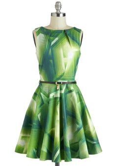 Luck Be a Lady Dress in Green Prisms - Green, Print, Belted, A-line, Sleeveless, Exposed zipper, Pockets, Party, Daytime Party, Vintage Inspired, Cotton, Mid-length