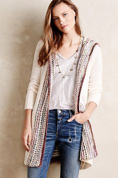 Ombre-Stitch Hooded Sweater #anthropologie Love this casual look, wish there weren't as many rips in the jeans