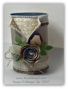 By Debbie Mageed, Upcycled, featuring Stampin' Up! Spiral Flower die, En Francais Background stamp