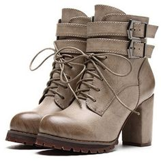 SheIn(sheinside) Grey Buckle Strap Lace Up High Heeled Boots