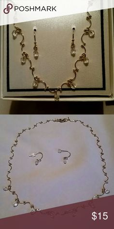 """Gold and crystal necklace set Pursuits Ltd. Necklace is 15.5"""". Dainty, simple, elegant. Never worn, in orginal box.  *Will consider offers or trades* Jewelry Necklaces"""