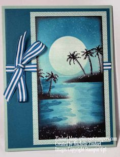 Hand stamped Waterfront Paradise Stampin' Up! Card created by Michelle Zindorf