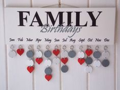 Family Birthday Reminder Plaque Board Calendar by PaperjackUK