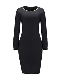 Round Neck Contrast Trim Zips Split Bodycon Dress Only $11.97 USD More info...