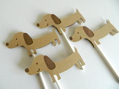 Dachshund Cupcake Toppers Puppy Cupcake Toppers by 2muchpaper, $11.00