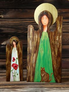 Two wooden angels: with poppies and with a cat, unique gift ideas, handmade with love Wooden Angel, Handmade Wooden, Poppies, Unique Gifts, Angels, Gift Ideas, Cats, Painting, Original Gifts