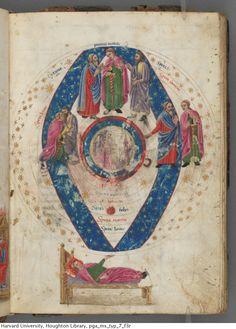 Macrobius, Ambrosius Aurelius Theodosius. Comentum Macrobii Ambrosii in somnium Scipionis : manuscript, 1469 Feb. 7.  MS Typ 7  Houghton Library, Harvard University