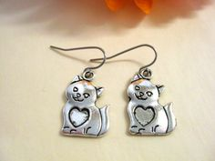 Cat Earrings Cat Jewelry Cat Jewelry Set by CharmAccents on Etsy