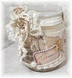 Shabby Chic Craft Ideas | Shabby Chic Crafts / altered candle jar... neat gift idea