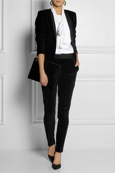 DAY Birger et Mikkelsen Velvet & Matte-Satin Tuxedo Jacket: DAY Birger et Mikkelsen's elegantly tailored tuxedo jacket is crafted from soft black velvet with sleek matte-satin lapels. Lightly structured shoulders and angled pockets help define a sharp silhouette. Style yours with the matching pants.