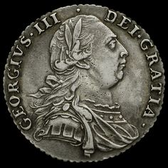 1787 George III Early Milled Silver Shilling, Hearts, GVF