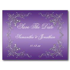 Purple Ombre Ornate Silver Swirls Save The Date