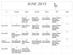 Free printable & editable June Cleaning Calendar  Need some motivation to get your home in better order this month? Download a free printable & editable June Cleaning Calendar.