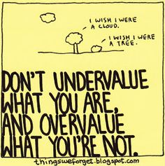 Things We Forget: 1090: Don't undervalue what you are and overvalue what you're not.