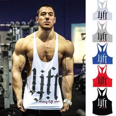 Letter print Fitness Men Body building Gym Tank Top Men Vest Gold Gym Stringer…
