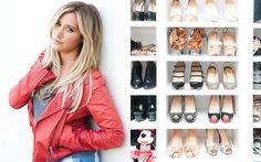 """O closet da Ashley Tisdale é o sonho de qualquer garota! São saltos incríveis, botas rocker e folk, rasteirinhas delicadas… """" A maioria da coleção é de quando eu vou a eventos, sempre quero ficar com sapatos!"""", contou."""
