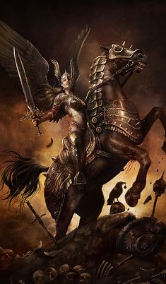 Valkyrie who are chooser of the slain. is one of a host of female figures who decide which soldiers die in battle and which live