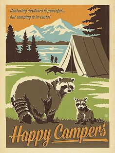 Anderson Design Group – Lake and Lodge – Happy Campers Retro Camping, National Park Posters, National Parks, Vintage Travel Posters, Hand Illustration, Happy Campers, Scouting, Cover, Decoration
