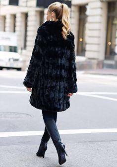 Onyx Mink Faux Fur Couture Knee-Length Coat