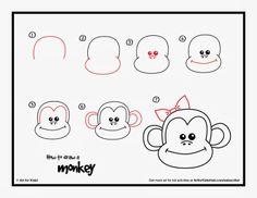 How to draw a Valentine's monkey...Tried it Tuesday