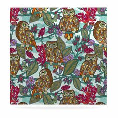 """Julia Grifol """"My Bookbooks Owls On Blue"""" Brown Blue Luxe Square Panel"""