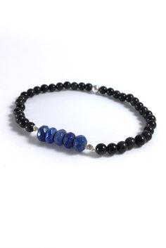 Genuine Lapis Lazuli Bracelet, Rainbow Obsidian Jewelry, Blue Stretch Beaded Bracelet