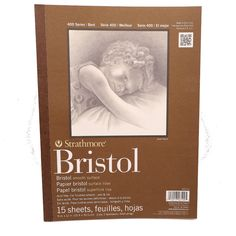 """Strathmore 400 Bristol smooth paper pad 11x14"""" 15 sheets"""