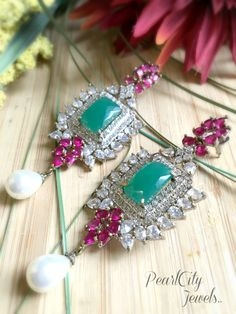 American Diamond Earrings with pearl drops by PearlCityJewelry