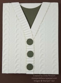 Cable Knit Embossing Folder Sweater Card by Linda Persoon stampandshare.typepad.com