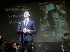 Hadley Fraser: Tom Hiddleston accepting the WhatsOnStage Award for Best Play Revival on behalf of the entire crew of Donmar Warehouse's 'Coriolanus' 15.02.2015