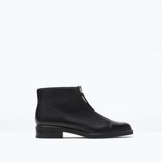 ZARA - SHOES & BAGS - Leather ankle boot with zip on the instep
