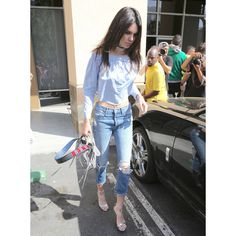 Kendall Jenner Does Easter In Ripped Jeans And Peasant Top ❤ liked on Polyvore featuring kendall jenner