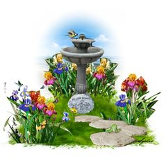 Irises by the Bird Bath by sgolis on Polyvore featuring art and garden