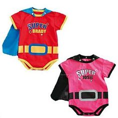 Superbaby Bodysuit - A Personal Creations Exclusive! Your super baby will look super cute in our short-sleeved bodysuit. Snap closures make quick changes easy, satin cape is removable with three snaps at neck.