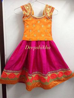 Pink and orange kids lehenga!
