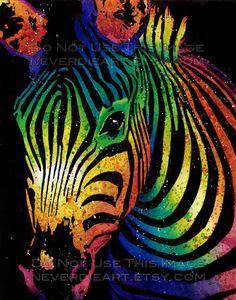 or apprx in Art Print - Black and White or Rainbow Zebra - Safari Animal Art Colorful Pop Art Home Decor Zebra Painting, Zebra Art, Art Pop, Tableau Pop Art, Scratchboard Art, Rainbow Zebra, Scratch Art, Chicago Artists, Alternative Art