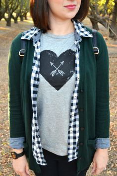 LOVE this Joe Fresh heart and arrow tee! http://www.sweetiepiepumpkinnoodle.com/2013/11/my-style-fall-layers-in-forest-green.html