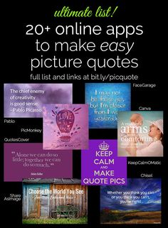 Want to make picture quotes, but not sure where to begin? Louise Myers has done the research to bring you the best sites to make picture quotes online! Simple Pictures, Make Pictures, Quote Maker App, I Love My Brother, General Conference Quotes, Birthday Wishes For Friend, Apps, Social Media Marketing, Content Marketing