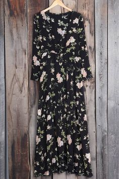 $26.99 Only with free shipping&easy return! This floral midi dress is detailed with plunging neckline&elastic at waist! We literally couldn't love this floral dress more!