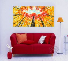 Looking Up Forest, Contemporary Huge acrylic painting Autumn Nature Tree Art by Tim Lam 48x24x1.5