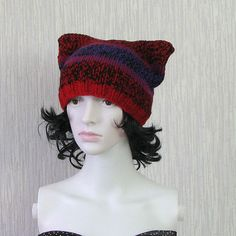 Cat Hat Knit Cat Ear Hat or Cat Beanie Colorful by DamovFashion