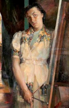Reflection (Self Portrait), 1939. Isabel Babianska Brodie (Scottish, 1920–2006). Oil on canvas. Glasgow Museums.  Brodie was a member of the New Scottish Group, which shared left-wing ideologies and was influenced by contemporary continental artists, including, in Brodie's case, Chaim Soutine. She studied at the Glasgow and Hospitalfield Schools of Art.