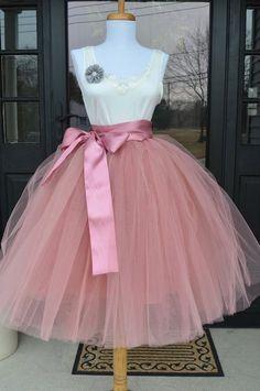 Rose Pink Tulle skirt,  Mauve Pink tutu, tulle skirt, ballet skirt, bridesmaid dress, wedding skirt