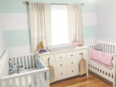 Small Twin Nursery, Twin Baby Rooms, Twin Baby Girls, Nursery Twins, Nursery Ideas, Twin Room, Nursery Room, Toddler Girls, Bedroom Ideas